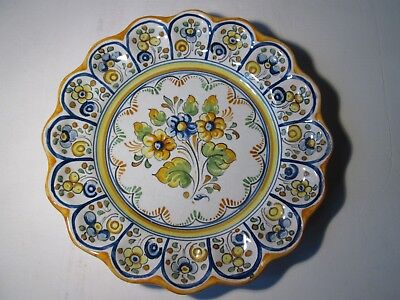 Vintage Hand-Painted Faience Plate with Scalloped Edge.  Stamped 'DURAN'