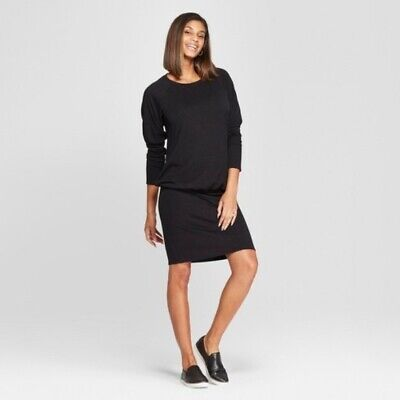 Isabel Maternity Womens Dress Medium Black Relaxed Body Cut Sew Long Sleeve New