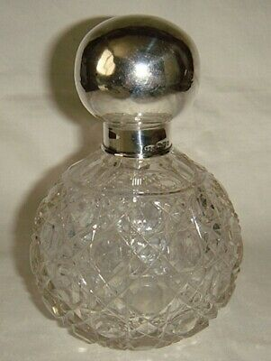 Vintage English Sterling & Cut Glass Scent - Cologne - Perfume Bottle