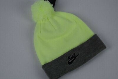 newest collection a476d 4b3f7 NWT Nike Unisex NSW Pom Knit Beanie Hat VOLT GREY AA9972 701 One Size