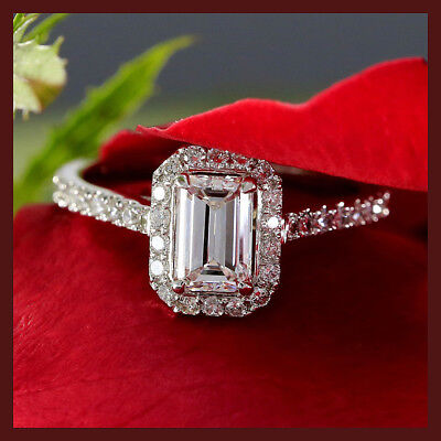 Emerald Cut Diamond 14K White Gold Certified 3.11CT Engagement & Wedding Ring