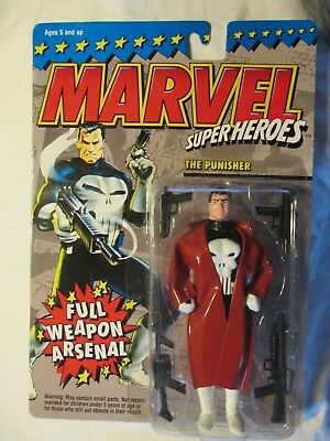 Toy Biz Marvel Super Heroes The Punisher with Trenchcoat Full Weapon Arsenal