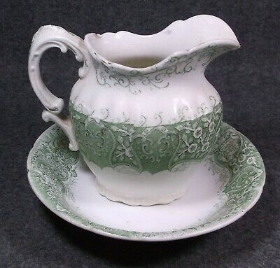 From Estate Antique Colonial Pottery Green Pattern Small Pitcher And Bowl