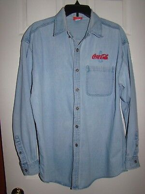 Vintage Coke Coca Cola Light Blue Denim Button Up Long Sleeve Shirt 1999  L-XL adbaefdf82b6