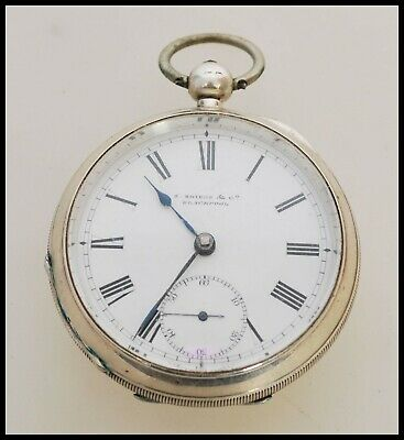 Stunning 1896 Sterling Silver Heavy Pocket Watch Shiers of Blackpool on Dial