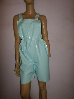 Adult Baby Sissy Blue Shiny Plastic  Romper Dungaree Suit  Bib Top 30-45  Waist
