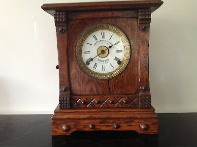 Vintage WOODEN MANTLE CLOCK With Key - Spares/Repairs - Fattorini & Sons