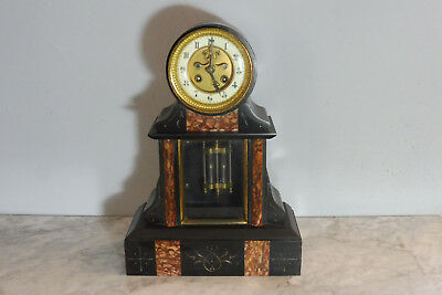 Antique French Marble Clock Old Clock Black Marble Shelf Mantel