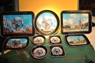New York's World Fair 1964-1965 -- Large 9 Piece Tray Set Is Perfect!!!
