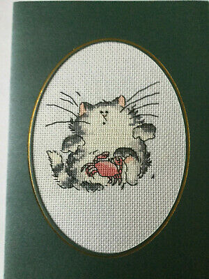 """completed finished cross stitch """"Cute Cat"""" card  by 7"""