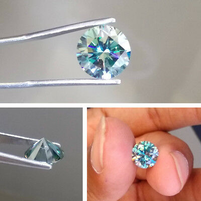 1.28 CT 7.3 MM Intense Blue Round Excellent Diamond Cut Real Moissanite For Ring