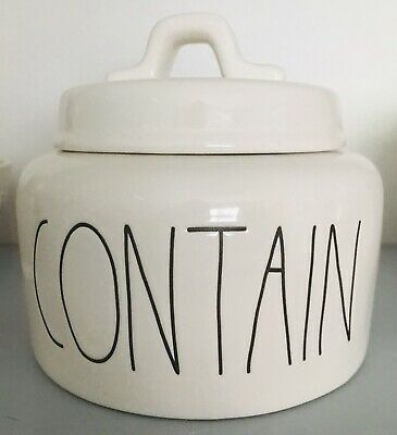 """Rae Dunn Artisan Collection Small Canister """"CONTAIN"""" LL"""