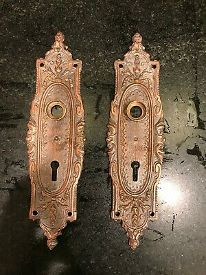 Pair Of Antique Victorian Style Heavy Brass/copper Plate Door Back Plates