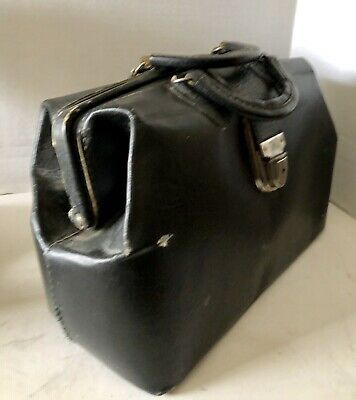 Vintage SWISS MADE HOMA Buckle Black Cowhide Leather Doctor's Bag Medicine