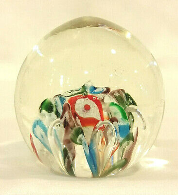 "Vintage Art Glass Hand Blown Millefiori Paperweight 2 5/8"" Tall Italy 1960-70s"