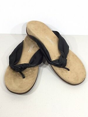 a5298d86c26b Vionic Rest Pippa Womens Size 11 Black Knotted Leather Toe Post Sandals  X16-222