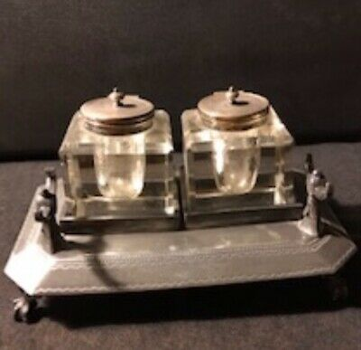 Antique English Silver Plated Cut Glass Pair Desk Double Inkwell Lions Paw Feet