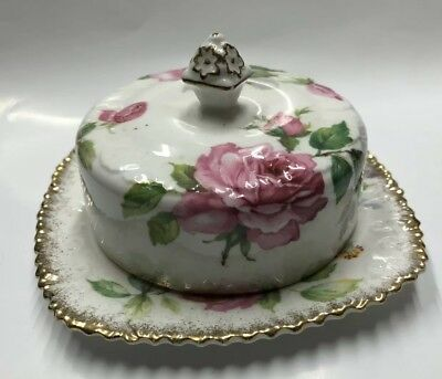 Berkeley Rose Royal Staffirdbone China Covered Butter Dish Round Roses