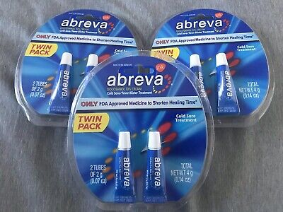 Abreva Cold Sore/Fever Blister Treatment TWIN PACK X3