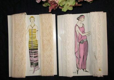 Lot Of 2 Antique/vintage Lengths Of Embroidered Net Edging Lace~10 Yards