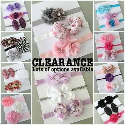3x Baby Toddler Girl Chiffon Flower Lace Bow Headband Hair Band Accessory