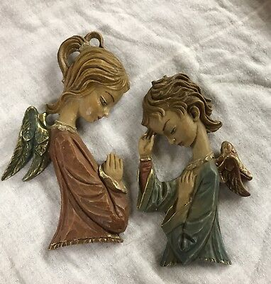 Vtg Hand Carved WOOD CHERUB ANGELS. Wall Decor Hanging Made In ITALY