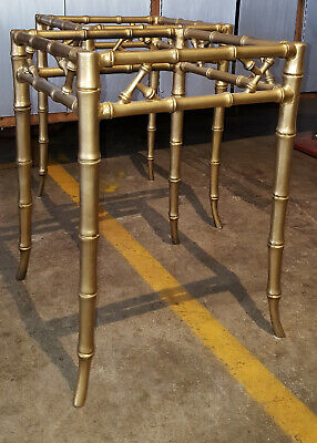 Pair Phyllis Morris faux bamboo side tables solid aluminum Mid Century Regency