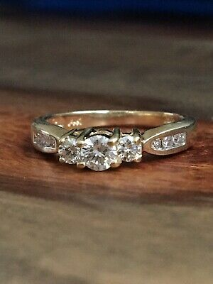 .36ct Diamond G/SI1 Three Stone Ring 14K Yellow Not Scrap Gold 2.9g NR Size 5.25