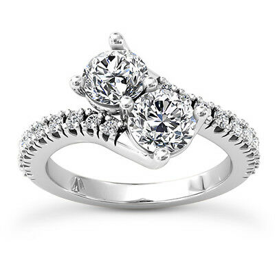 Solitaire 2 Stone 1.00 Carat Round Cut Diamond Forever Us Ring 14k White Gold