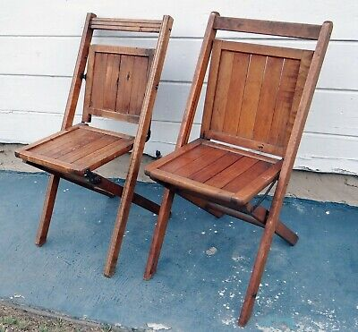 2 Vintage Antique Wooden Folding Chairs Full Slat Backs Pair Set