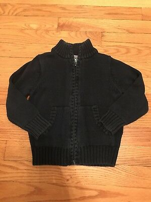 Old Navy Toddler Boy Navy Blue Zip Front Cotton Sweater Cardigan sz 3T EUC