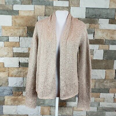 b0ea15e7c6f916 J Jill Women s Sz S Beige Gold Sequin Long Sleeve Open Front Cardigan  Sweater