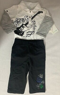 f70f7193fed  NWT  Amy Coe Baby Boy Skull Rock N Roll Guitar Flames Outfit 12 Months