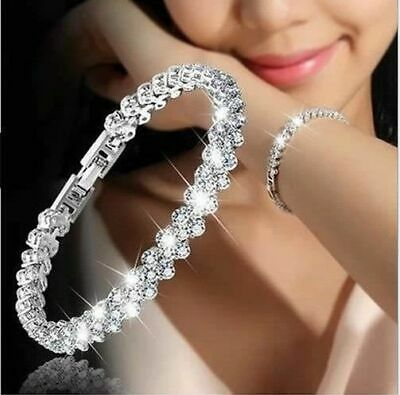 HOT Fashion Women Girls White Jewelry 925 Silver Charm Bracelet Bangle Sapphire
