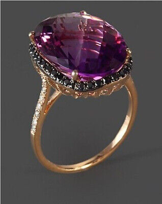 Rose Gold Amethyst Wedding Engagement Ring Queen Jewelry Wholesale