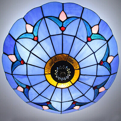 Antique Tiffany Style Stained Glass Ceiling Light Fixture Big Flush Mount Lamp