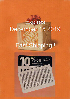 (20) Lowes 10% off  for Home Depot  only – expires December 15 2019