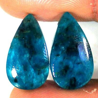 100% Natural APATITE Pairs 20.35 Cts African Pear Cabochon Top Loose Gemstones
