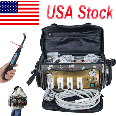 Portable Dental Turbine Unit 4 Hole Air Compressor Suction 3 Way Syringe Bag TOP