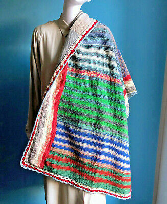 """Antique 1930s Hobo Crochet Knit Patchwork Colorful Carriage Blanket 28"""" x 55"""""""