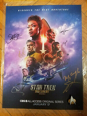 """STAR TREK: DISCOVERY 18x24"""" Season 2 poster, signed autographs by 8 cast members"""