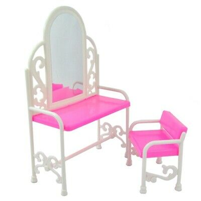 E-TING Fashion Dressing Table And Chair Set For Barbies Dolls Bedroom Furniture