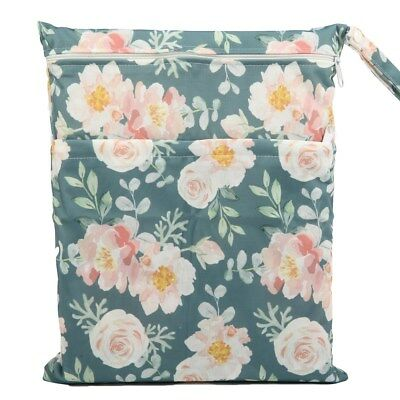 Wet Dry Bag Baby Cloth Diaper Nappy Bag Reusable 2 Zipper Pocket Floral Girls