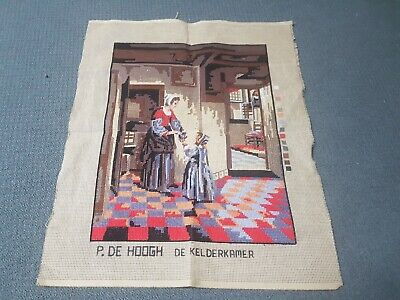 Tapestry Canvas - P. De Hoogh - Woman with child in a pantry - 3/4 complete