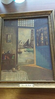 """2 oil paintings antique framed""""From my study""""""""From my Workshop""""Unsigned"""