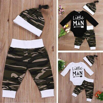 3pcs/Set Neugeborenes Baby-Brief-Druck-Spielanzug+ Camouflage Pants+ Hat Outfits