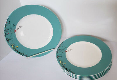 "Lenox Simply Fine China CHIRP 6 Lg  Dinner Plates 11"" Birds Very Nice Set!"