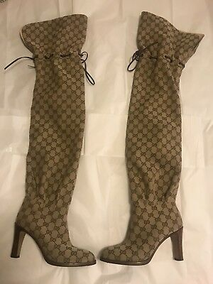 120a1615e GUCCI GG CANVAS Over-The-Knee Boot Women Size US 7 Eu 37 Beige Ebony ...