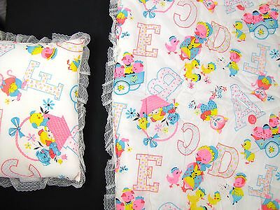 SEARS Quilted Baby Blanket Quilt AND Pillow Puppy Kitten Pig ABCs VINTAGE