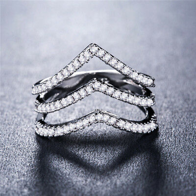 Fashion Women Wedding Ring 925 Silver Jewelry Round Cut White Sapphire Size 6